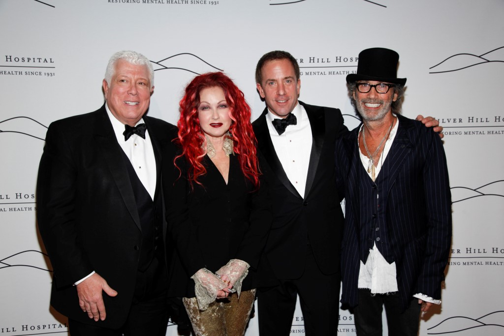 Dennis Basso, Cyndi Lauper, Michael Cominotto, Jonny Podell== Silver Hill Hospital Gala 2013== Cipriani 42nd, NYC== November 20, 2013== ©Patrick McMullan== Photo- ADRIEL REBOH / PatrickMcMullan.com== ==