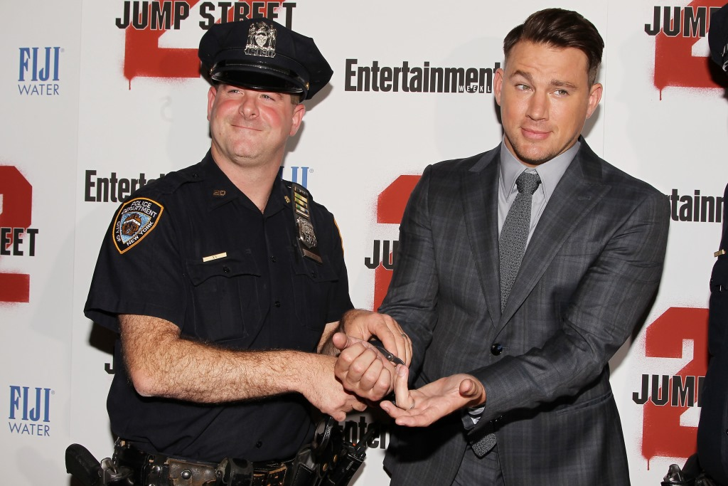 """- New York, NY - 6/4/14 - Fuji Water and Entertainment Weekly Present the New York Screening of """"22 Jump Street""""  . The Film Stars Jonah Hill and Channing Tatum. -PICTURED: Officer Ross Dichter, Channing Tatum -PHOTO by: Dave Allocca/Starpix -File name: DA_14_923005.JPG -Location: AMC Lincoln Square For licensing please call 212-414-9464 or email sales@startraksphoto.com"""