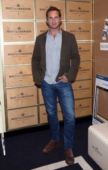 Actor Josh Lucas & model friend Sloveig Mork enjoys opening night of the 2014 US Open Tennis at the Moet suite.