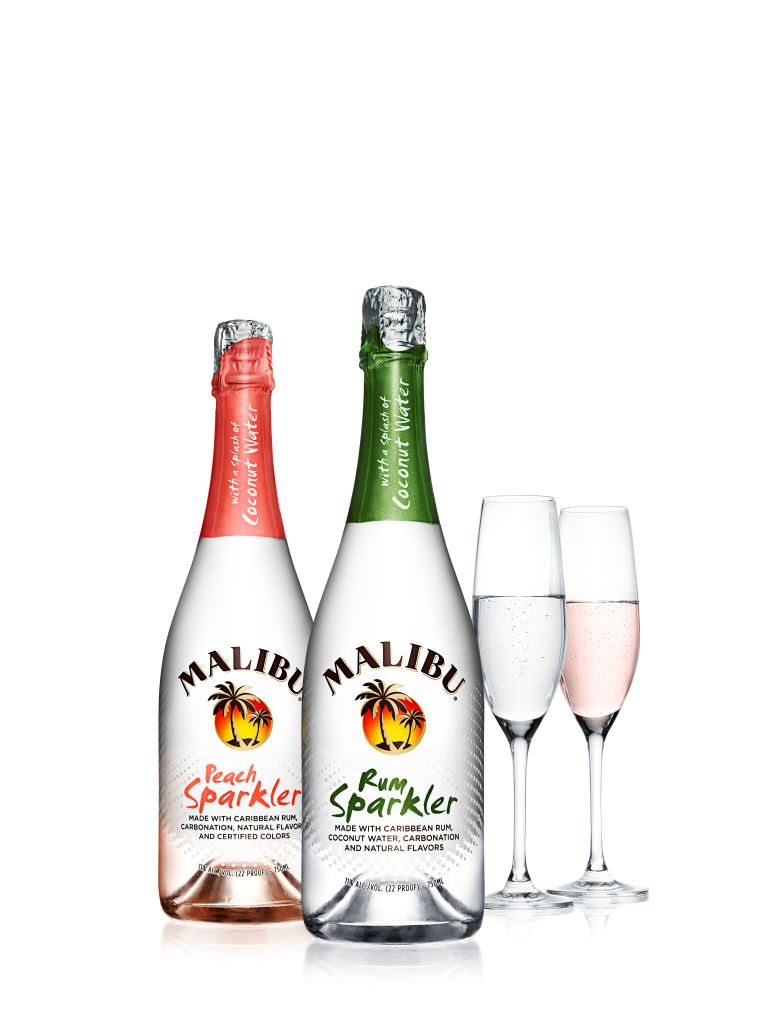Malibu Rum and Peach Sparkler Bottles with Champagne Glasses White Back