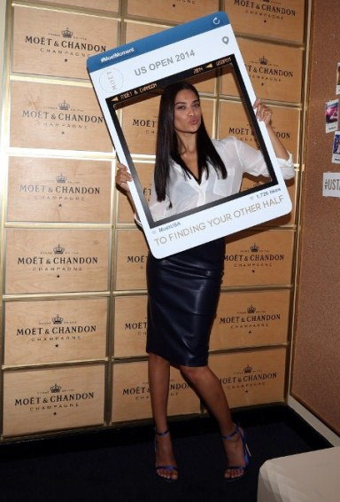 Victoria secret model Shanina Shaik enjoys opening night of the 2014 US Open Tennis at the Moet suite.